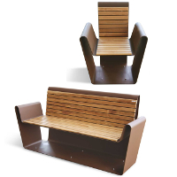 CLUB fauteuil banc pubic, banc bois métal, acier corten
