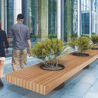VICTOR mobilier urbain banc public bois avec jardinières