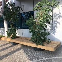 VICTOR mobilier urbain assise bois avec jardinières