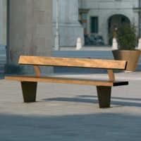 CAMPUS mobilier urbain banc bois, banc public, acier corten
