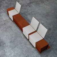 CORTOMADERE banc public, chaise longue mobilier urbain, banc bois acier corten