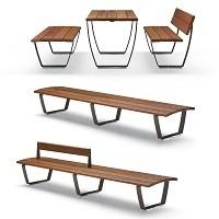 NUVOLA mobilier urbain banc bois, aires de pique-nique, mobilier de parc