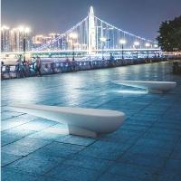 CANN banc public / contemporain / en béton pierre reconstituée / en acier inoxydable