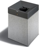 QUARZO - Poubelle public en béton / Pierres reconstituées / avec cendrier intégré / Acier