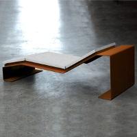 CORTOMADERE Chaise longue urbaine pour espace public - bois + corten ou acier│METALCO fabricant mobilier urbain design