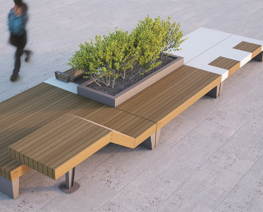isolaurbana mobilier urbain design banc bois béton │fabricant METALCO
