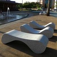 RIVOLA banc public, chaise longue en béton, banc en béton, banc relax mobilier urbain