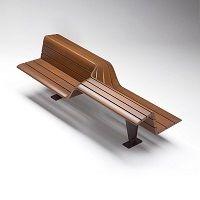 SEDIS TORSION banc urbain design, banc public bois avec assis debout│METALCO fabricant mobilier urbain design