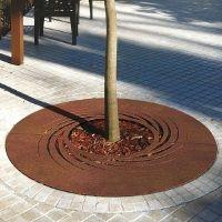 TWISTER grille d'arbre ronde acier corten inox - mobilier urbain METALCO