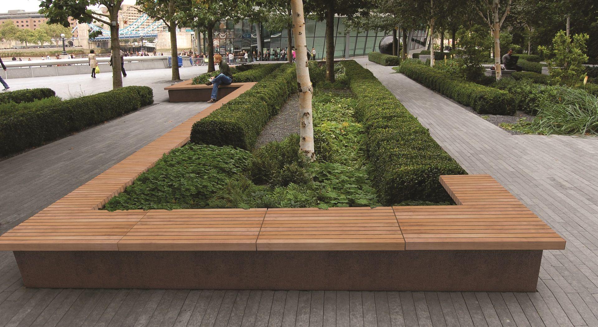 GRANDIFIORIERE banc jardiniere bois corten METALCO