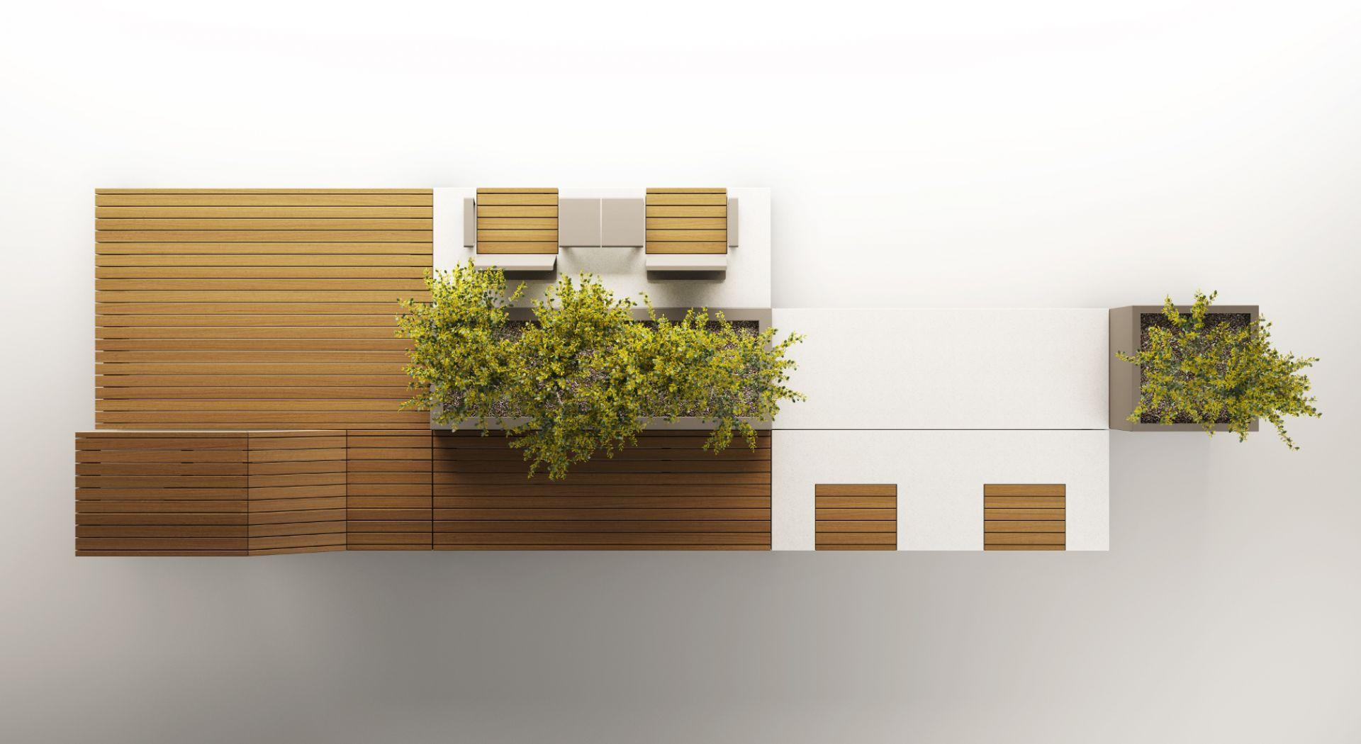 IsolaUrbana banc béton bois jardiniere METALCO
