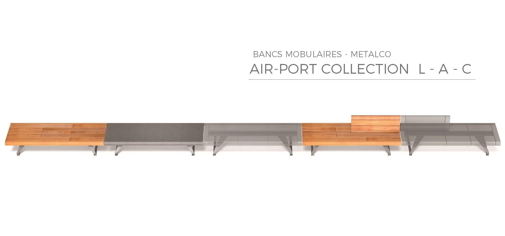 AIR PORT A - Banc Urbain Modulaire, Banc Urbain Design Acier METALCO